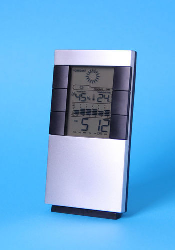Electronic digital clock AlarmClock Countdown Electronic Hour Isolated Screen Weather Alarm Alarm Clock Blue Blue Background Clock Close-up Digital Digital Clock Equipment Forecast Hygrometer Instrument Measurement Minute No People Number Time Timer