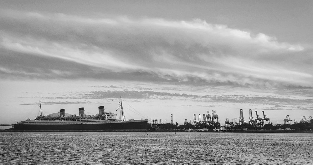 Queen Mary Black And White Waterfront Queen Mary Bnw_friday_eyeemchallenge Black And White Photography Ocean Sky Black&white Blackandwhite Sea Ship Cloudscape Historical Landmarks EyeEm ForTheLoveOfPhotography Eyeem Market Photography Is My Therapy Eyeemphotography Eye4photograghy Photography Is My Escape From Reality! From My Point Of View Perspective Cityscapes Tourism Destination Nautical Vessel Nautical Theme
