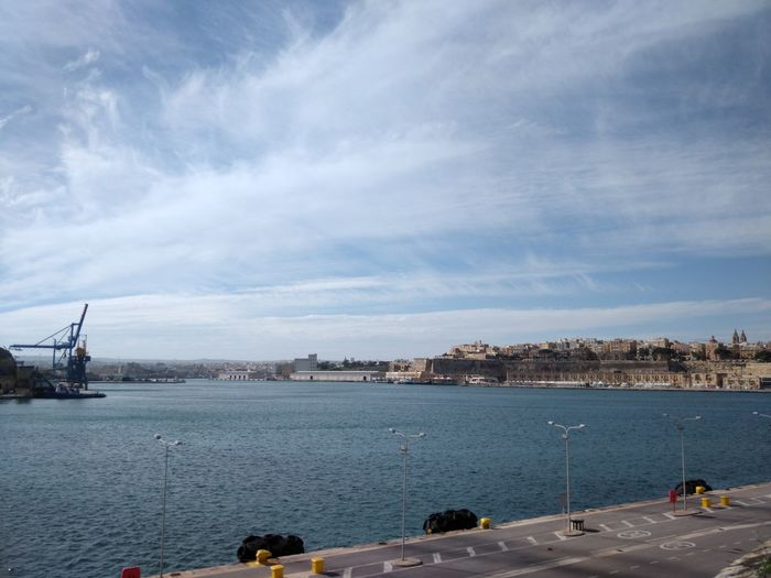 Malta Grand Harbour Water Nautical Vessel Transportation Sky Sea Cloud - Sky Mode Of Transportation Scenics - Nature Architecture Built Structure Tranquility Travel City Tranquil Scene Sailboat Beauty In Nature Valletta