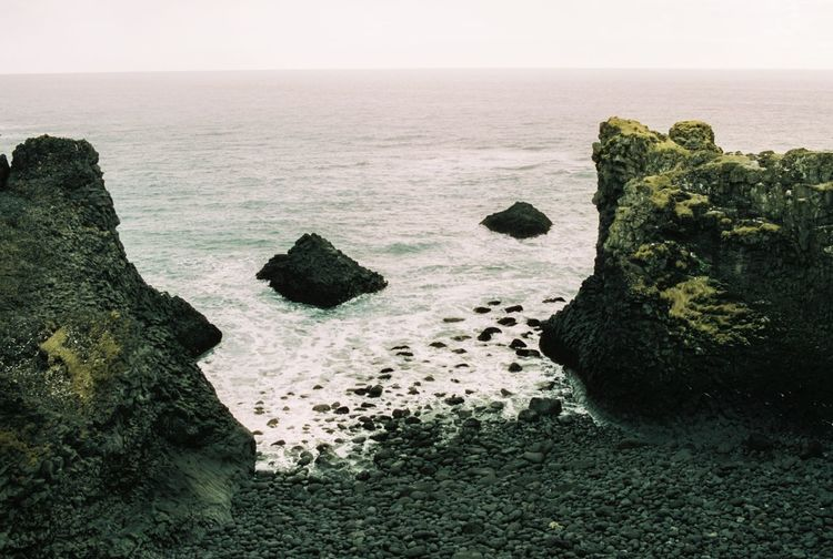 Iceland Landscape Rock Formation Iceland Water Sea Horizon Over Water Beauty In Nature Horizon Tranquility Scenics - Nature Tranquil Scene Beach Sky Land Rock Nature No People Rock - Object Outdoors