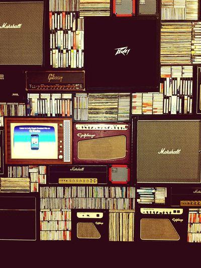 The Five Senses Wall Of Sound Amp Speaker Vinyl Records cassettes Peavey Marshall Epiphone Sound
