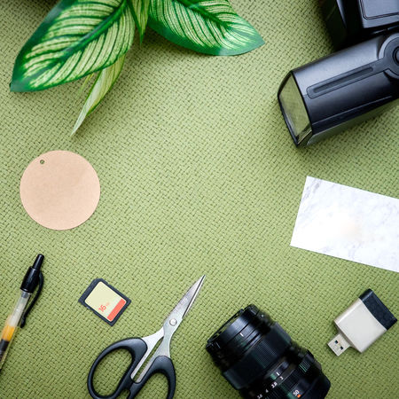 Art And Craft Close-up Connection Creativity Directly Above Equipment Flatlay Green Color Group Of Objects High Angle View Indoors  Paper Pen Photographer Scissors Stationary Still Life Table Technology Textile Work Tool