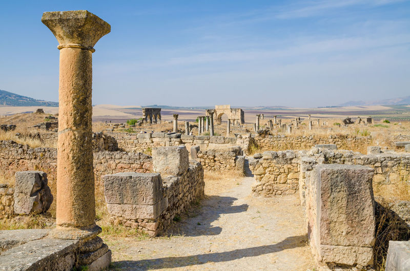 View of old roman ruins of volubilis, morocco, north africa