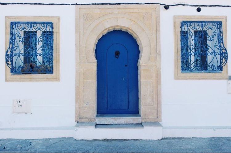 Door Built Structure Entrance Architecture Day Doorway Building Exterior No People Outdoors White Blue Window Doors Summer Tunisia