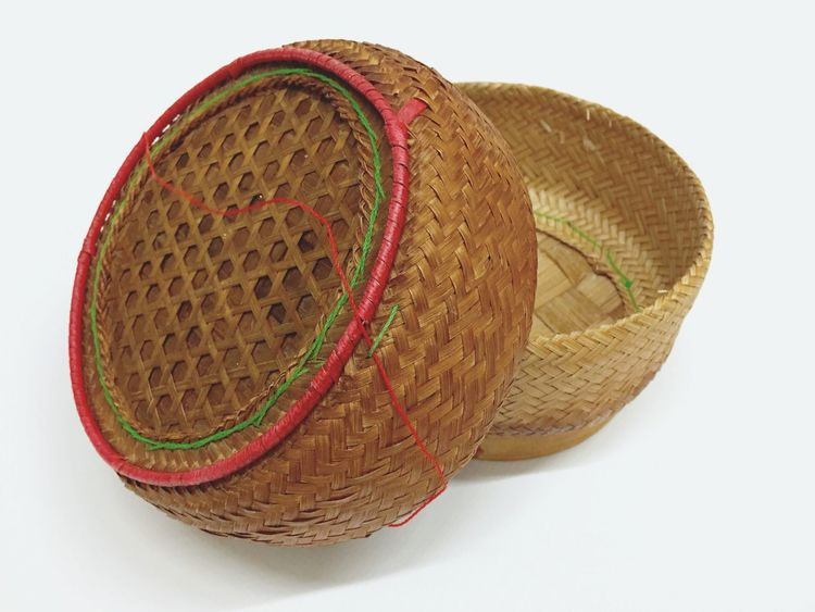 Thai traditional rice box Cut Out Basket White Background Sport No People Day Weaving Rice Box Sticky Rice Box Thai Traditional Old