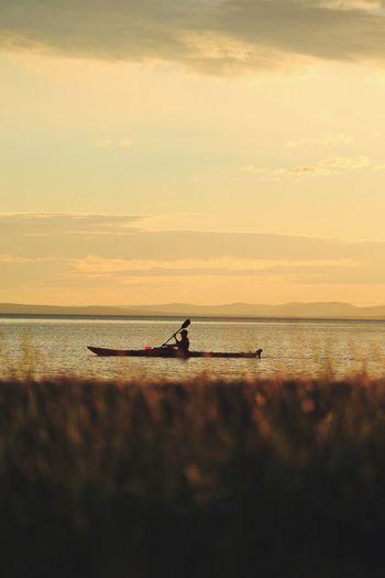 Kayaking Kayak Water Sky Sea Sunset Beauty In Nature Scenics - Nature Nautical Vessel Tranquility Transportation Horizon Over Water Tranquil Scene Mode Of Transportation Nature Cloud - Sky Orange Color Idyllic Outdoors