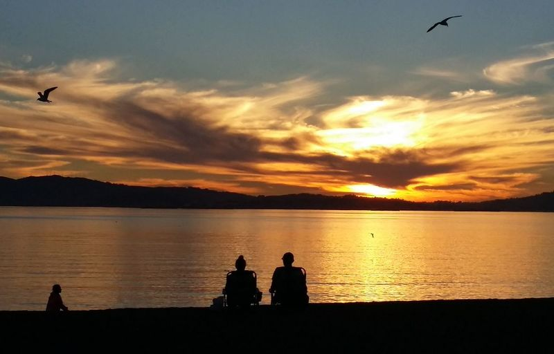 Rear view of couple overlooking calm lake at sunset