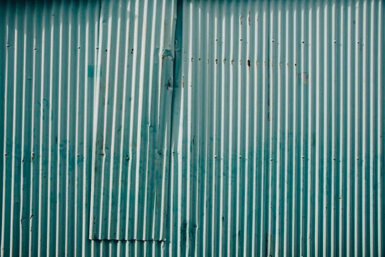 Corrugated iron wall Architecture Backgrounds Building Exterior Built Structure Corrugated Corrugated Iron Day Iron Metal No People Outdoors Pattern Sheet Metal Textured  Turquoise Colored Wall - Building Feature