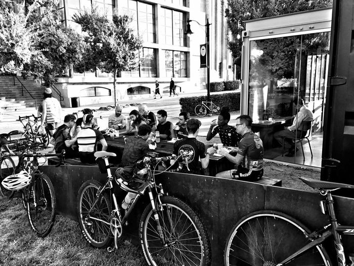 Disconnected Blackandwhite Looking Through Window Coffee Bicycle