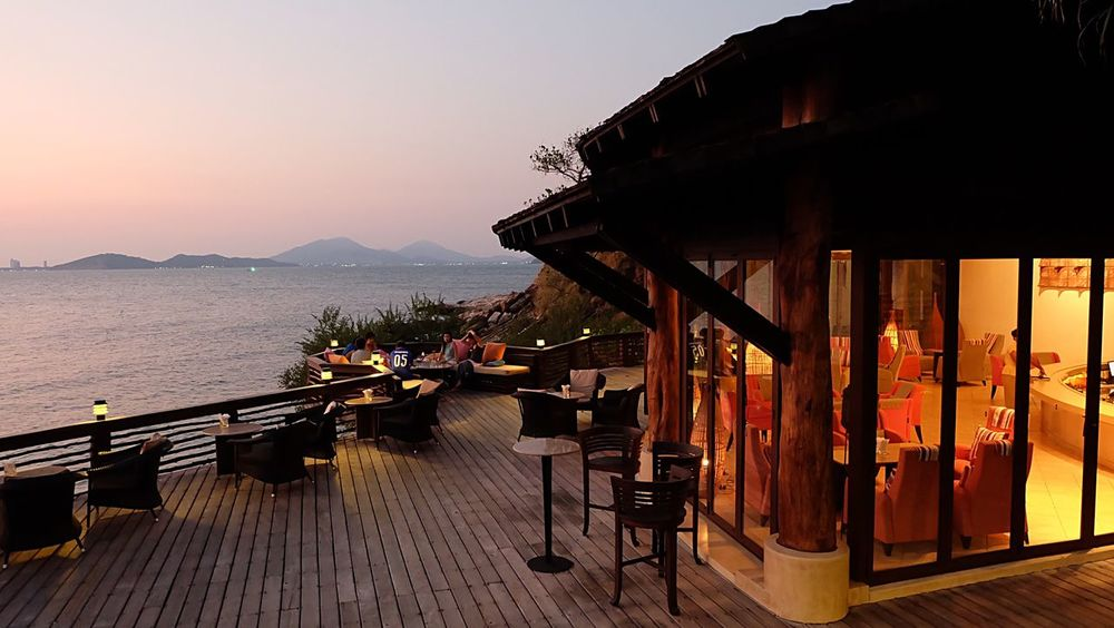 Water Sea Sunset Mountain Dusk Tranquil Scene Calm Nature Ocean Scenics Chillout Samed Island Paradee Resort Vacations short break Holiday Best In Samed Rayong Thailand Best Sunset Spot
