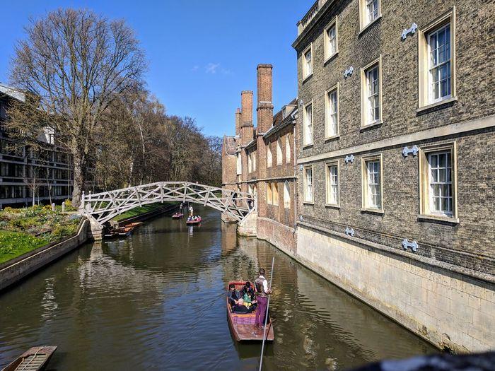 Bridge over river amidst buildings in city
