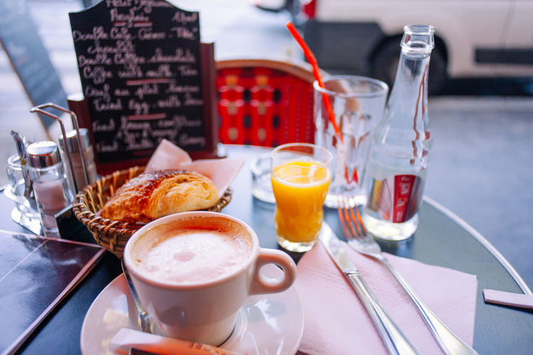 Break Cafe Capital Cities  Coffee Croissant Drink Drinking Glass English Breakfast Food Fork France French Healthy Eating Juice Morning Napkin Orange Paris Plate Table Toast