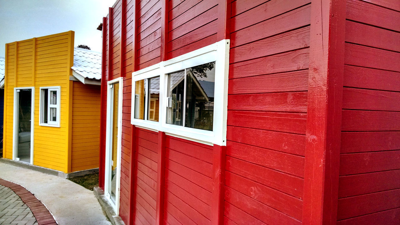 building exterior, built structure, architecture, building, window, day, no people, red, house, entrance, outdoors, door, closed, wall - building feature, residential district, nature, city, wall, security, safety