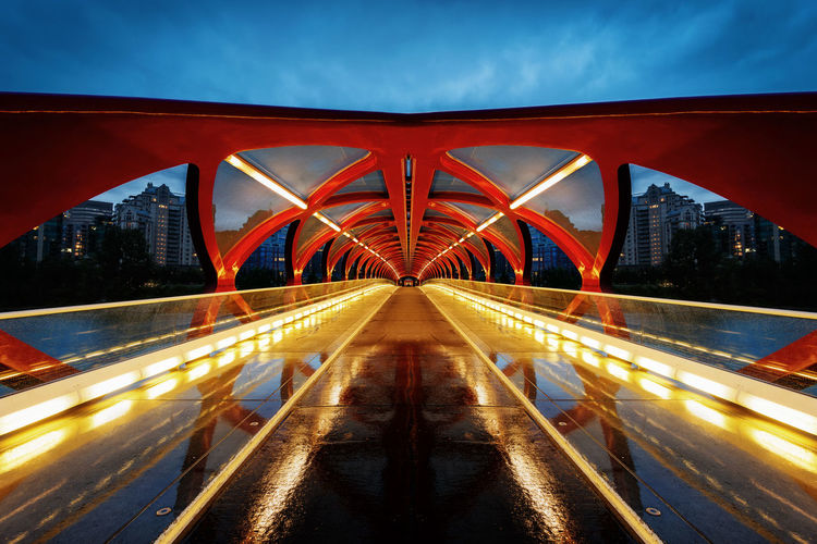 Light trails on bridge in city against sky at night