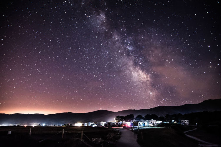 Milky-way over Caravan Nikonphotography Nikon Nikonphotographer Milky Way Milkyway Space And Astronomy Star Field Nature Water Milky Way Beauty In Nature Illuminated Mountain Tranquility Outdoors Star Science No People