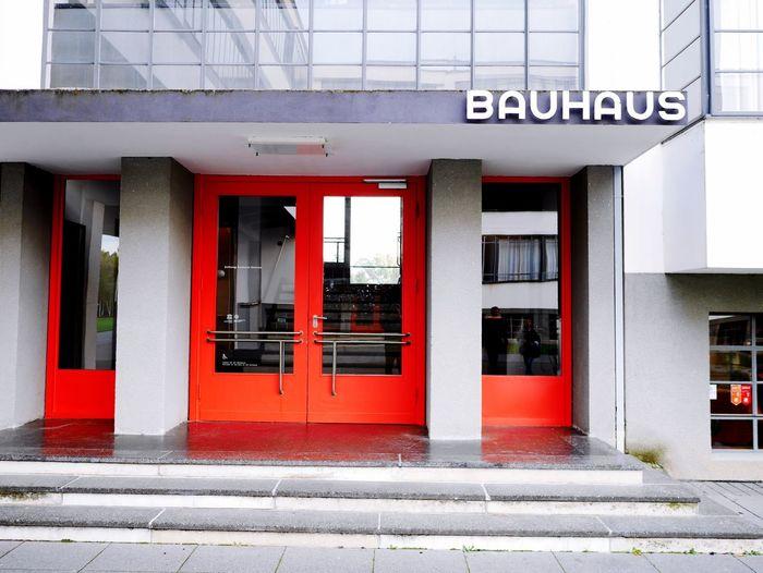 BAUHAUS BUILDING DESSAU Architecture Bauhaus Dessau Bauhaus Red Color Communication Design Building Exterior Architectural Column Bauhaus Building