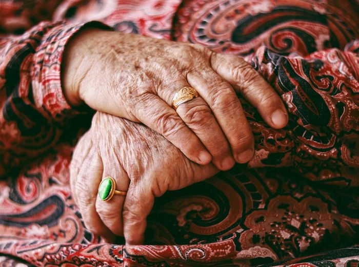 Close-up of senior woman hands