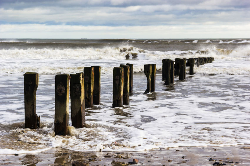Beach Beaches Beachphotography Breakwater Cambois Cloud - Sky Horizon Over Water Northumberland Outdoors Sand Sea Seascape Shore Surf Tidal Tide Tidepools Water Wave Wooden Post