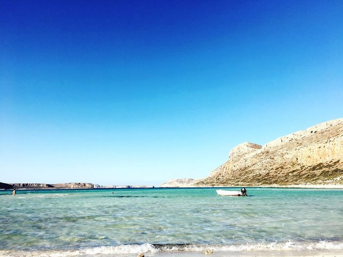 Blue Sea Copy Space Clear Sky Water Nature Beauty In Nature Scenics Nautical Vessel Day Outdoors Tranquility Tranquil Scene No People Sky