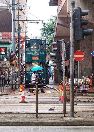 A cross over the tram, Hongkong City Street Outdoors Road Road Sign City Life