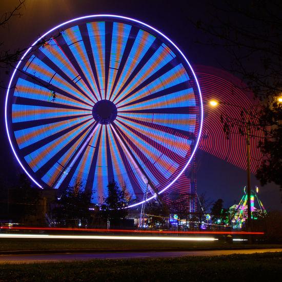 Amusement Park Ferris Wheel Illuminated Long Exposure Multi Colored Night No People Outdoors