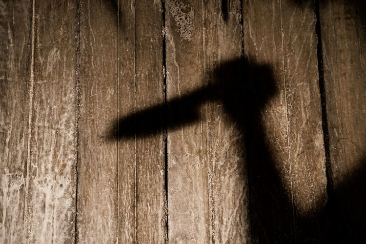 Shadow of people on wooden plank