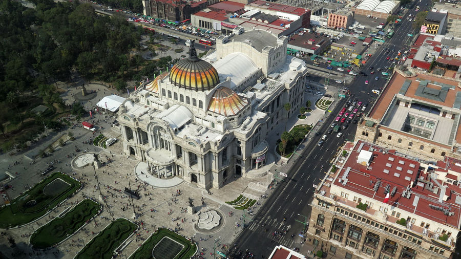 High Angle View Of Palacio De Bellas Artes In City Seen From Torre Latinoamericana