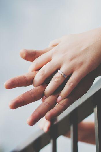 #engaged #wedding #ring EyeEm Selects Human Hand Fingernail Women Nail Polish Human Finger Close-up Sky
