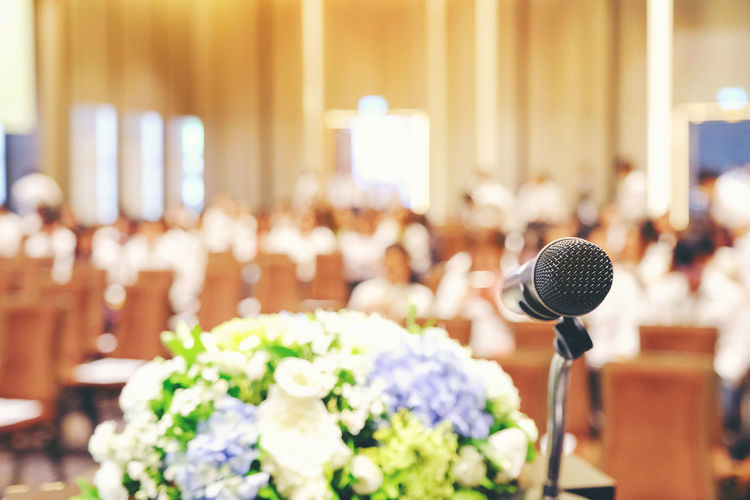 Close-Up Of Microphone During Wedding Ceremony