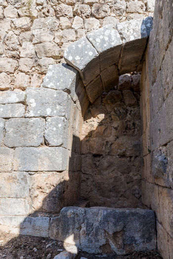 Inner courtyard of Nimrod Fortress located in Upper Galilee in northern Israel on the border with Lebanon. Israel Nimrod Fortress History Heritage Castle Fort Saladin Beybars Crusaders Ayubids Mamluks Assassins Tower Travel Destinations Tourism Old National Park Hill Stone Material Wall Ancient Architecture Medieval Architecture Protection Ruin Galilee