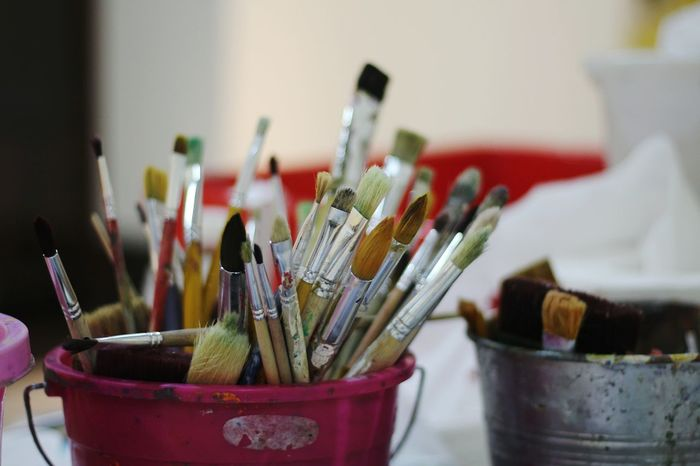 Large Group Of Objects Paintbrush Variation Indoors  Paint No People Desk Organizer Palette Close-up Art Studio Day