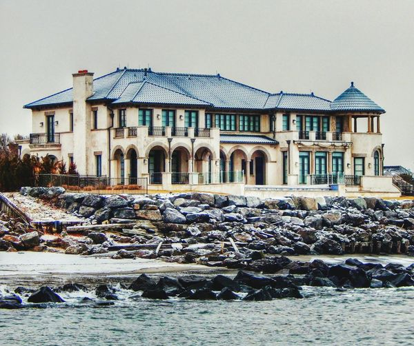 Beautiful house which overlooks the ocean. I was out on the jetty when i took this picture. Beach House Ocean Waves