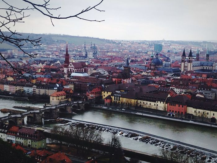Point of view View From Above Würzburg Germany Sight City #river #sky #cloud Pale Colors Main