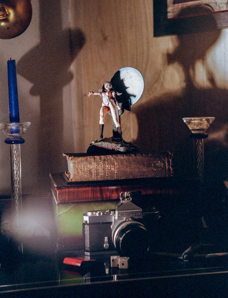 Still Life shot on 35mm film in Studio Analog Analog Camera Analogue Photography Arcane Candles Dice Figure Halloween Indoors  No People Old Books Shadowplay Shadows Shadows On The Wall Spooky Spooky Atmosphere Still Life Studio Shot Toys Turntable 35mm Film 35mm Camera The Still Life Photographer - 2018 EyeEm Awards