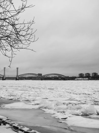 Neva River Finland Bridge Railway Black And White
