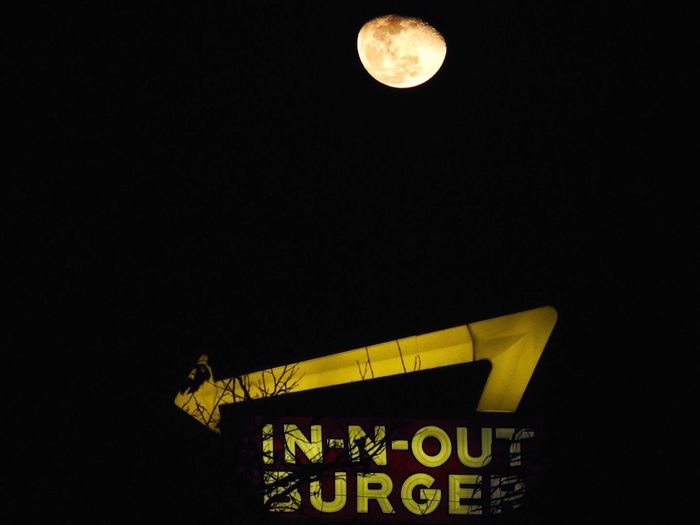 A west coast must when you visit. The taste will send you straight to the moon. In N Out Burger Night Moon Yellow Communication Low Angle View Copy Space Outdoors