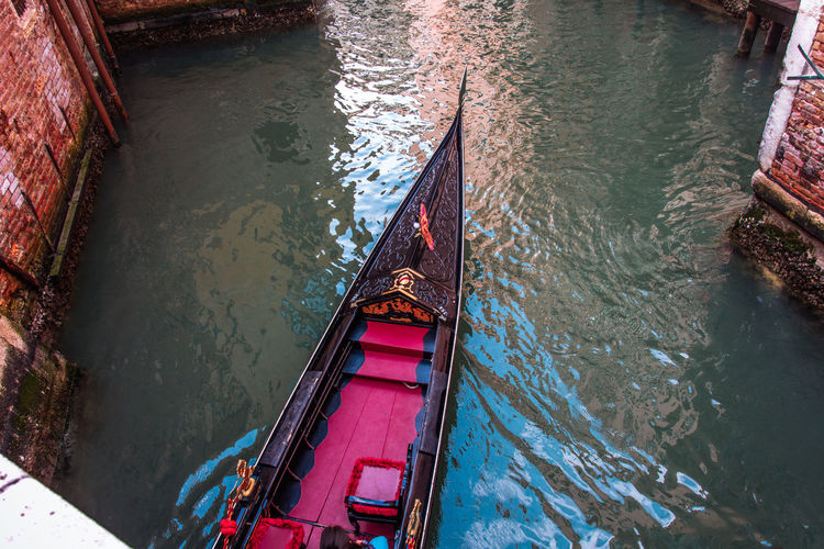 High angle view of gondola in canal