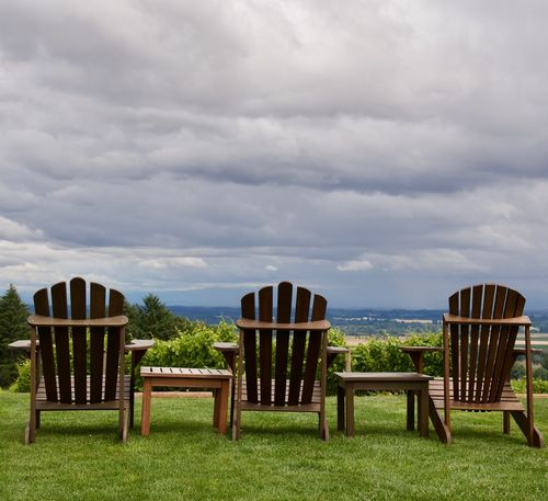 Friday afternoon in summer at a Vineyard in Dundee, Oregon Chair Day Dining Table Grass Green Color No People Oregon Oregonexplored Outdoors PNW PNW Summers Relaxing Moments Sky Sky And Clouds Vacation Wine Wine Country Wine Glass Wine Moments Wine Tasting Winery