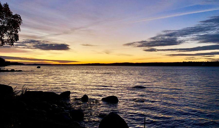 Saint Lawrence River/Fleuve Saint-Laurent Sky Water Sunset Cloud - Sky Scenics - Nature Beauty In Nature Tranquil Scene Sea Tranquility Land Beach No People Non-urban Scene Orange Color Outdoors Nature Silhouette Idyllic