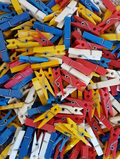 Full Frame Shot Of Colorful Clothespin