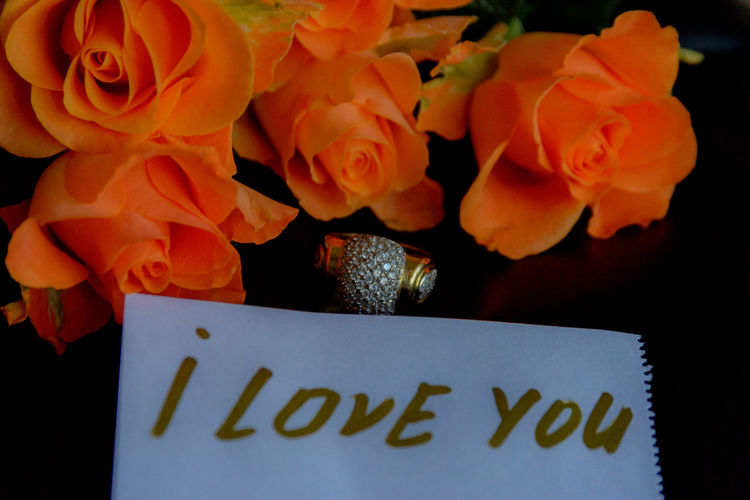 Love Love Note For Him ♥ Beauty In Nature Bouquet Bouquet Of Roses Close-up Day Florist Flower Flower Head Flower Shop Fragility Freshness Golden Ring Indoors  Love Note Love Notes Love To Take Photos ❤ Love ♥ Lovely Nature No People Petal Plant Text