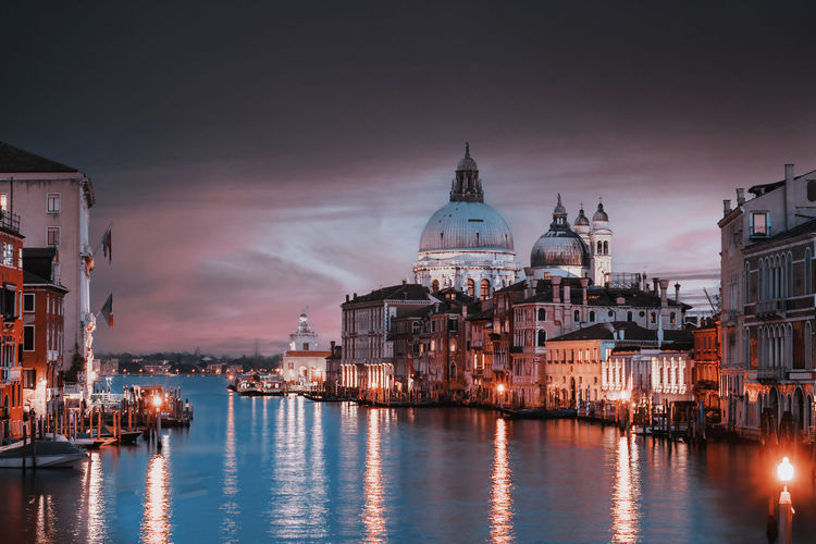 View of the canal grand and basilica of santa maria della salute from the accademia bridge