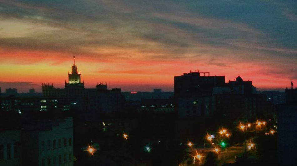 Закат город челябинск  вечер суббота вид из окна красота краски  First Eyeem Photo
