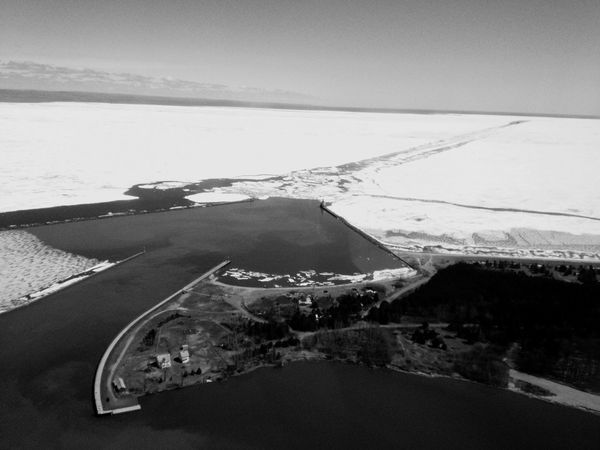 QVHoughPhoto Minnesota Duluth Lakesuperior Greatlakes Winter Ice Snow Landscape Aerial Aerialphotography Blackandwhite IPhoneography IPhone4s