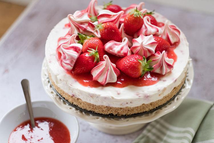 High angle view of dessert on table