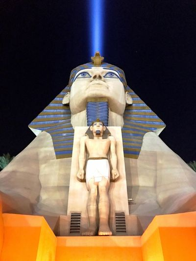 Statue Human Representation Sculpture Male Likeness Art And Craft Low Angle View No People Indoors  Day Close-up Las Vegas NV Vegas At Night Built Structure LuxorHotel Spotlight Sphynx Tramstation