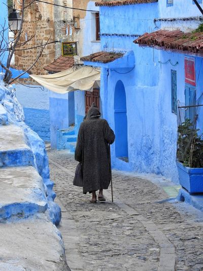 Check This Out Hello World Enjoying Life Alley Blue Man Traditional Robe Chefchaouen Morocco Colorful Walking Around The City  Walking Alone... Stairs