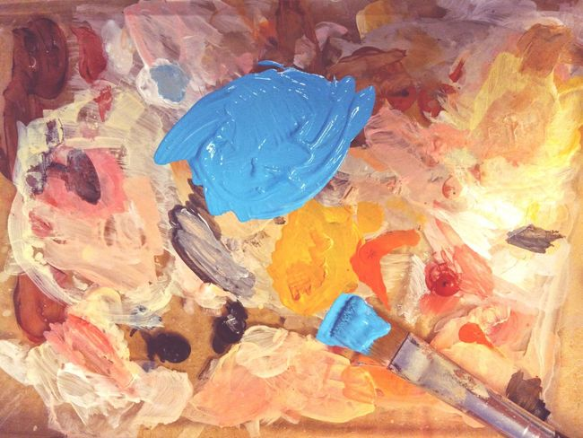 Mixing Colors Art And Craft Acrylic Paint Multi Colored Paint Brush Blue Color Backgrounds Working Tools Complementary Colors