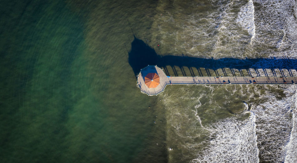 Aerial view of pier over sea