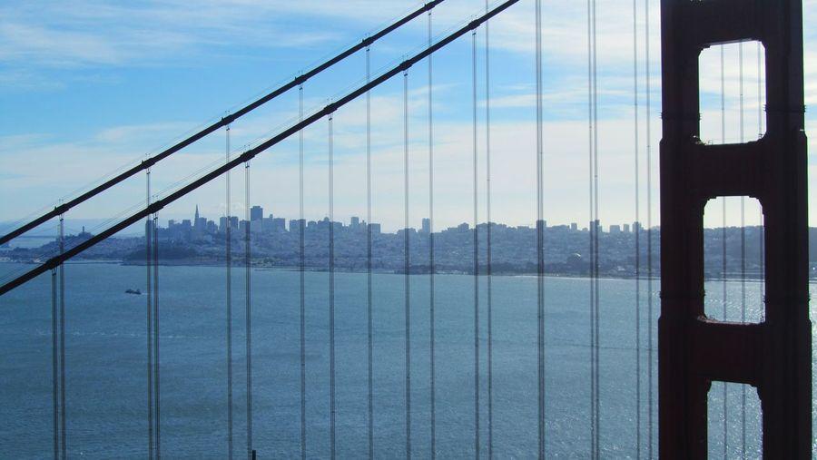 Golden Gate Bridge Red Bridge San Francisco California Suspension Bridge Water Urban Skyline Outdoors Sky Sea Skyline